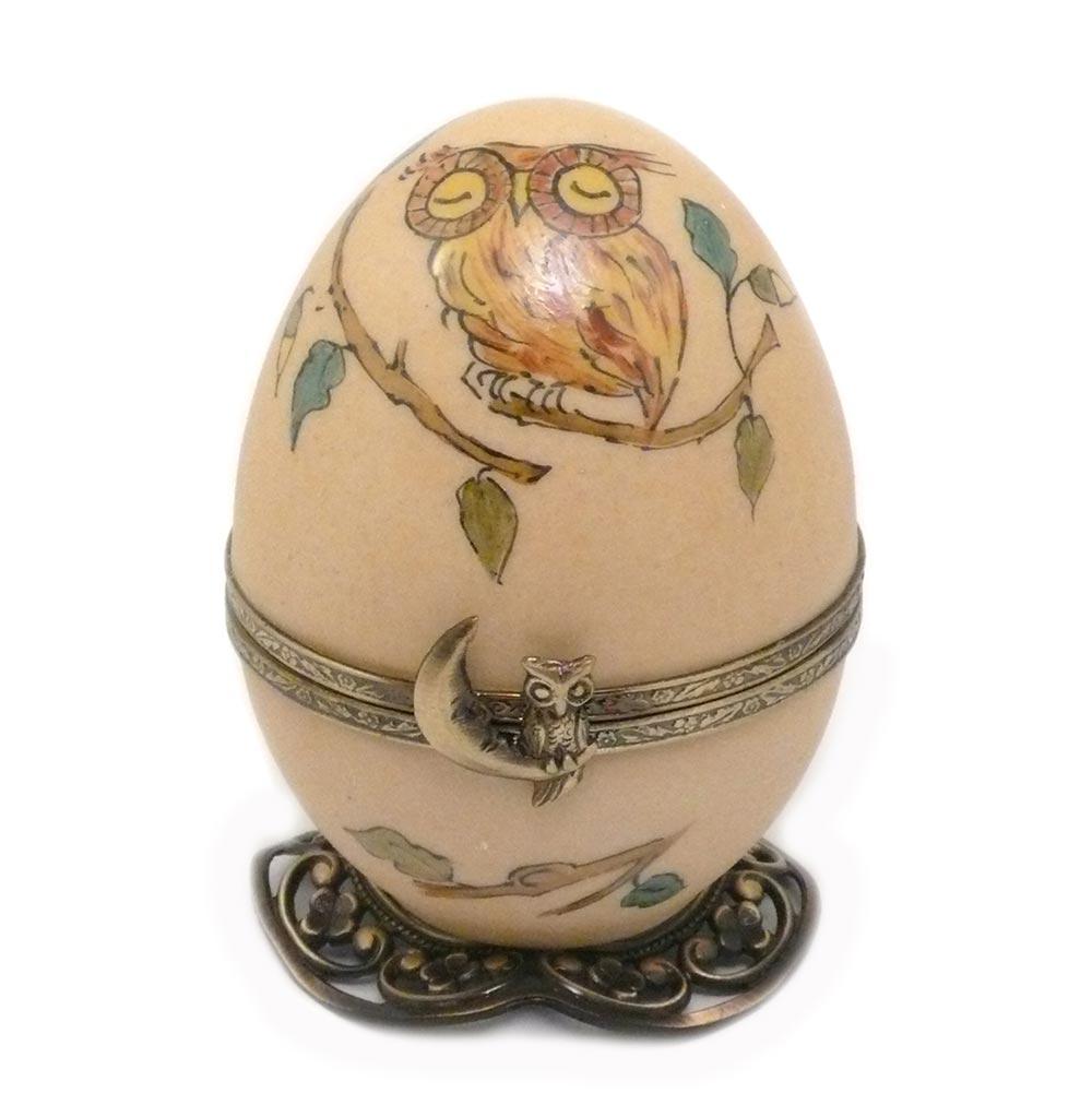 Collection chouette. FanexFrance. Artisan Français. Boite a musique oeuf en porcelaine de Limoges peinte à la main.